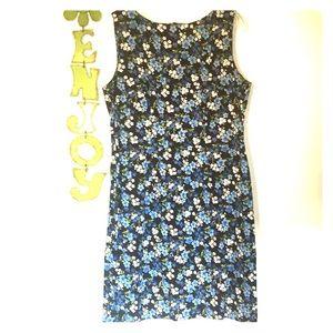 CDC Vintage 90s Blue Floral Sheath Dress